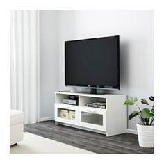 IKEA - BRIMNES, Mueble TV, blanco, , La salida para cables de la parte posterior permite ocultarlos manteniéndolos a mano.