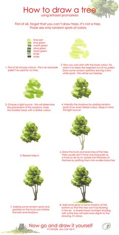 Tree drawing tutorial by Morpho-Deidamia. on Tree drawing tutorial by Morpho-Deidami Watercolour Tutorials, Watercolor Techniques, Painting Techniques, Watercolor Illustration Tutorial, Watercolor Trees, Watercolor Paintings, Watercolors, Simple Watercolor, Colorful Paintings