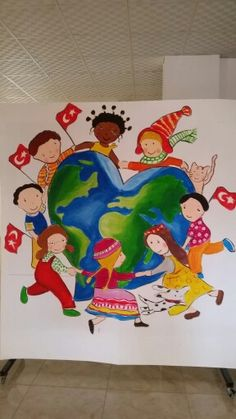 23 nisan etkinlikleri School Murals, Art School, Peace Drawing, Kids Church Rooms, Multicultural Classroom, Peace Poster, Happy Children's Day, School Displays, Backdrop Design