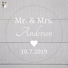 Mr. and Mrs. Clear Transparent with White Ink Wedding Favor Stickers (#172-C-WT) - Wedding party invitations (*Amazon Partner-Link)