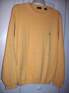 IZOD-Crest-Logo-Mens-size-XL-pull-over-golf-sweater-cotton-yellow-gold