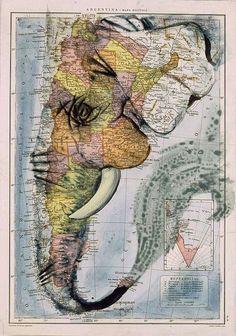 Wow thats amazing(: Elephant map art!