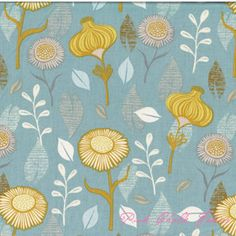 Sarah Watts Timber & Leaf Gerbera Turquoise >> for the bathroom shower curtain