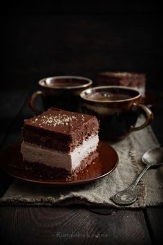 chocolate sponge cake with chocolate whipped cream.  (blog is written in Polish; translate button is on top left of page)