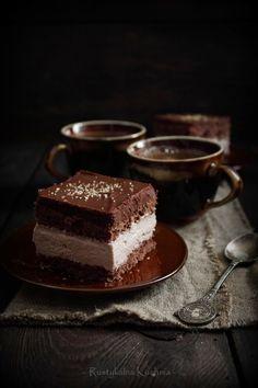 chocolate sponge cake with chocolate whipped cream.