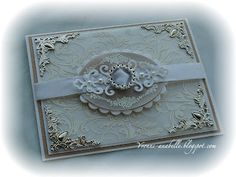 White and Silver Embossed Vellum card top view