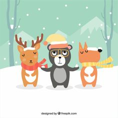 Background of cute animals with hat and scarf in a winter landscape Free Vector
