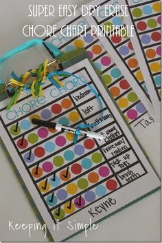 Super Easy and Simple Dry Erase Kids Chore Chart with Printable @keepingitsimple