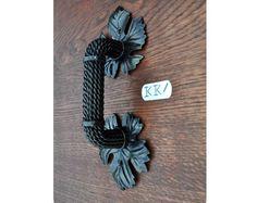 Wooden door pull, Forged door handles-Door knob-Metal door handle-Wrought iron handle for the front door-wicket-gate, Home decor