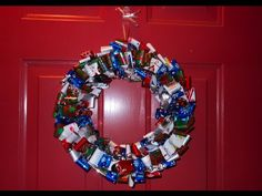 a wreath made out of wrapping paper. super easy and you could use ribbon for something sturdier