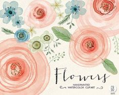 Watercolor flowers, ranunculus, rose Graphics Welcome to **GrafikBoutique!**This item includes 37 floral elements: 14 flowers and 23 green flora by GrafikBoutique Watercolor Invitations, Diy Invitations, Watercolor Cards, Watercolor Paintings, Watercolor Rose, Watercolor Wedding, Diy Wedding Flowers, Bridesmaid Flowers, Diy Flowers