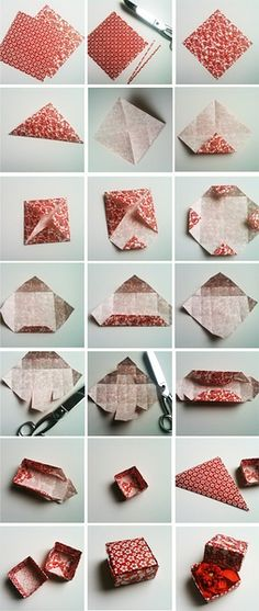How to fold paper into a box -- good idea for recycling paper into giftboxes