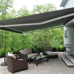 Pergola Ideas For Patio Info: 6735915504 Pergola With Roof, Backyard Pergola, Patio Roof, Back Patio, Pergola Kits, Pergola Ideas, Patio Ideas, House Awnings, Deck Awnings