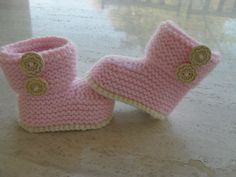 Baby Girl Boots Knitting Pattern This Pattern Makes Three Sizes of Boots 0 to 3, 3 to 6, 6 to 9 Months.  It Is Quick And Easy Suitable For Advanced Beginner.  Instant Down Load From My Etsy Shop MarilynsCreation
