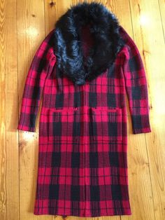 Red and Black Plaid Tartan Jacket Sweater w/Black Faux Fur Collar Coat Women's  #Unbranded #BasicJacket