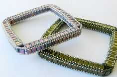 Awesome gorgeous, something different, a square bangle for you to bead.  The color combinations are wonderful and endless.    I used Miyuki Tila beads, Miyuki or Toho round seed beads size 11 and 15 for these bangles. I give detailed photo and written directions on how to weave these awesome square Bella Bangles and easy square stitch instruction.