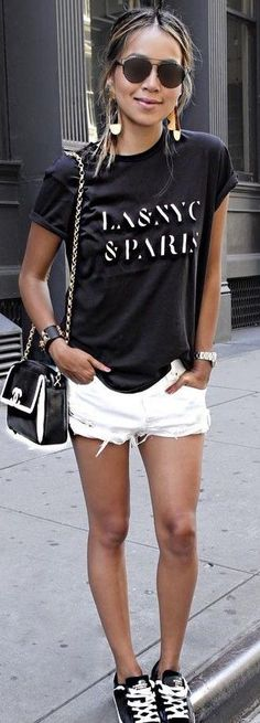 #summer #fashion #outfitideas Black and White Casual Sporty