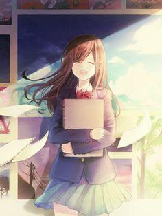 ✮ ANIME ART ✮ anime. . .artist. . .school uniform. . .sketchbook. . .sketchbook pages. . .smile. . .cute. . .kawaii
