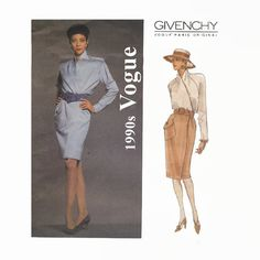1990s Vogue Givenchy Sewing Pattern - Vogue 2973 - Misses One-Piece Wrap Dress - Vogue Paris Original - Size 6 8 10 - Bust 30 31 32 UNCUT by EightMileVintageSews on Etsy