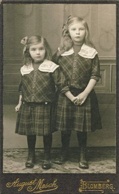 :::::::::: Antique Photograph :::::::::: Sweet Sisters holding hands and dressed in Plaid. ca. 1910