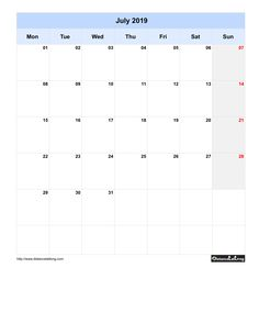 Free Monthly Printable Blank Calendar for July 2019 Monday to Sunday
