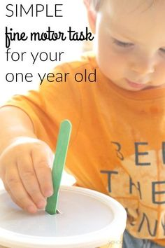 No prep fine motor task for your 1 year old! Super simple activity that allows for all sorts of learning to take place!