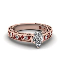 Pear Shaped Diamond with Ruby Engagement Ring