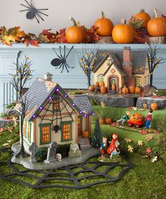 halloween village display department 56 snow village halloween trick or treat lane series the spider house and the pumpkin house