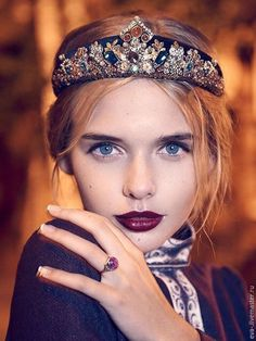 Купить Russian new style Златояра +серьги - украшения ручной работы, украшение для волос