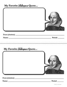 Favorite Shakespeare Quotes: free downloads of Shakespeare Activities