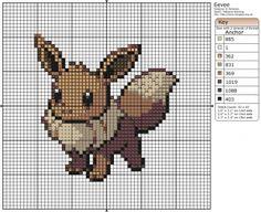 Pokémon – Eevee 40x40 - 50x50, Birdie's Patterns, E - H, Eevee, Gaming, Pokémon…