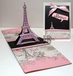 Frances Byrne using the Pop it Ups Eiffel Tower and Paris Edges die sets by Karen Burniston for Elizabeth Craft Designs. - Paris