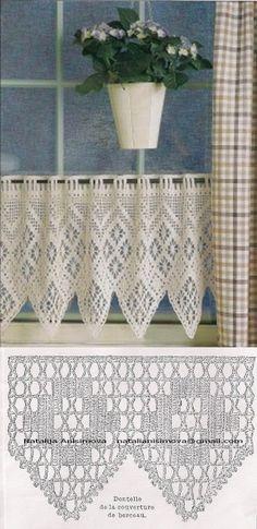 Crochet Curtain Pattern, Crochet Curtains, Curtain Patterns, Diy Curtains, Lace Patterns, Crochet Patterns, Crochet Cord, Crochet Motifs, Filet Crochet