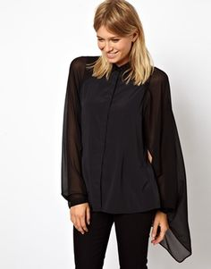 Image 1 of ASOS Blouse with Dramatic Cape Sleeve