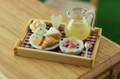 Croissant  and Cheese - Breakfast in Bed Collection - 1:12 Scale Dollhouse Miniature Tray by Shay Aaron Miniatures
