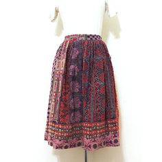 70s Batik Print India Skirt now featured on Fab.