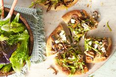 Mushroom-and-Asparagus Pizzas//wouldn't this be great with scrambled eggs?  Yum!