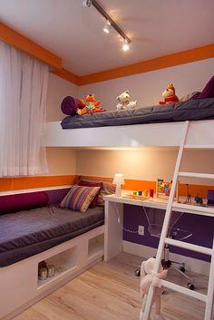 Dormitório do Felice Vila Formosa Small Room Design, Kids Room Design, Home Room Design, Interior Design Living Room, Room Design Bedroom, Room Ideas Bedroom, Dream Rooms, Dream Bedroom, Bunk Bed Rooms