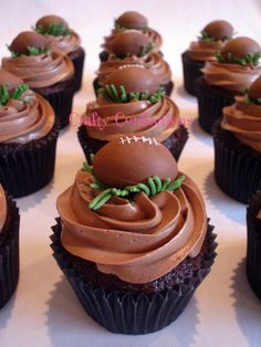 cupcakes... Football could be chocolate covered strawberry?