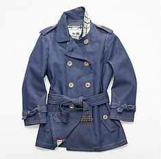 Mini-denim trench coat
