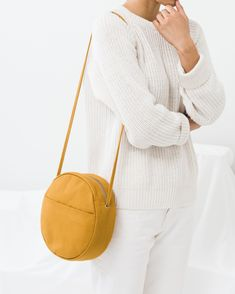 Medium Canvas Circle Purse in ochre. A mid-size circular purse in canvas. in strap drop cotton recycled) Circle Purse, Cute Backpacks, Fabric Bags, Diy Pillows, Handmade Bags, Diy Canvas, Mustard Yellow, Saddle Bags, Purses And Bags
