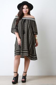Embroidered Tribal Print Off-The-Shoulder Shift Dress