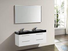 Meuble salle de bain Blanc laqué Double vasque Miroir MANA