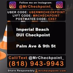 8.4.2017. NOW #SanDiego DUI Checkpoint #ImperialBeach Palm Ave & 9th St. TAG A FRIEND :). USE CODE UBERMRCHECKPOINT FOR YOUR FIRST RIDE FREE IN UBER. OR USE CODE MRCHECKPOINT FOR FIRST RIDE FREE WITH LYFT. #DUICHECKPOINTS #DUI #LAWYER #NODUI #UBER #LYFT #NOTWORTH10kDUI #DUI #CHECKPOINT #police #drunk #high #smoke #drinks #party #420 #fun #goodtimes #cop #cops #policecheckpoint #mrcheckpoint #dontdrinkanddrive #duicheckpoint #licensecheckpoint #night #summer #SD #friday #imperialbeachlocals…