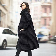 Женское стёганое пуховое пальто, с воротником-стойка