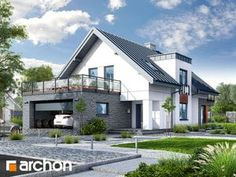 Projekt Dom w czermieni Beautiful House Plans, Modern House Plans, Beautiful Homes, Dormer Bungalow, House Front Design, Modern Exterior, Home Fashion, River House, New Homes