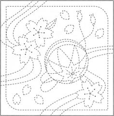 Sashiko - sakura and temari Japanese Embroidery, Diy Embroidery, Cross Stitch Embroidery, Embroidery Patterns, Japanese Quilts, Japanese Fabric, Shashiko Embroidery, Asian Quilts, Pattern Coloring Pages