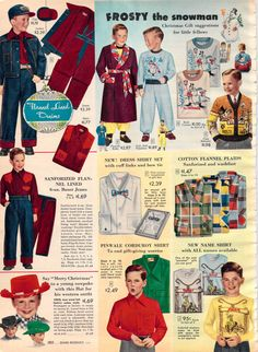 e90027bdb2a Vintage boy clothes- 1952 Sears Christmas catalog Vintage Ads