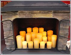 fireplace candles.  I just did this for the fireplace in our bedroom!! So romantic!