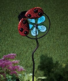 Ladybug Garden Decorations Glow In The Dark Wind Spinner Stake Decor Colorful Yard